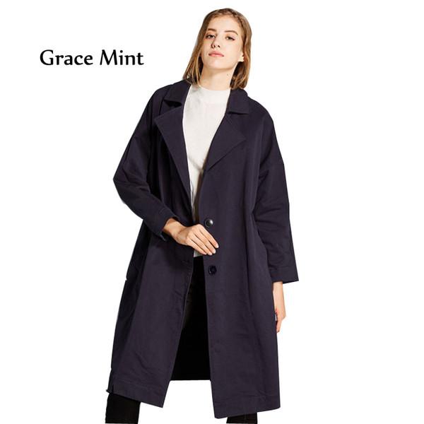 Coat Fashion Women Autumn PLUS SIZE Loose Solid Cotton Trench Coat Slim Outwear