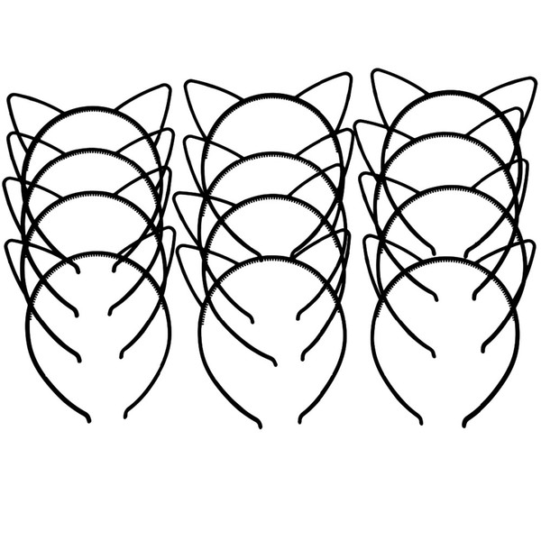 XIMA 12pcs/lot 2017 New Style Black Cat Ears Headband Cute ABS Plastic Girls Cat Ears Hairband Children Hair Accessories GHB026