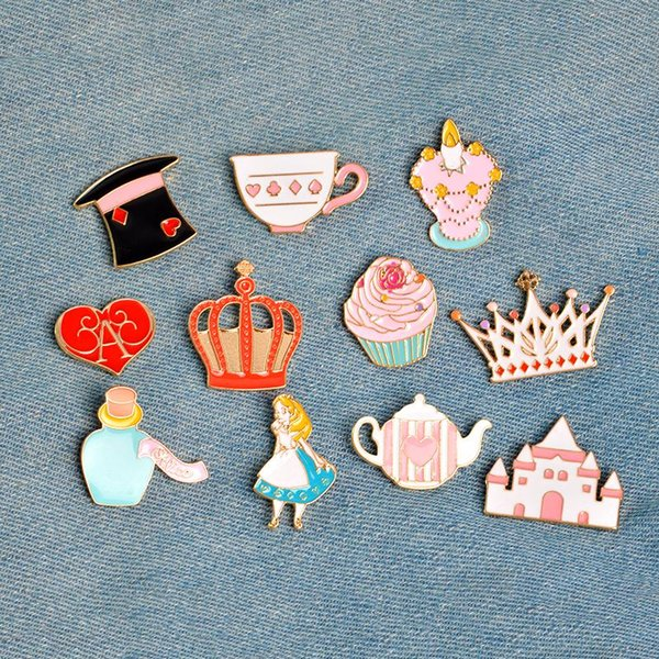 Alice in Wonderland Pin Brooch Button Badges Cute brooches Pins Tea Party,Alice,Queen of Heart,Cupcake Colorful Accessories