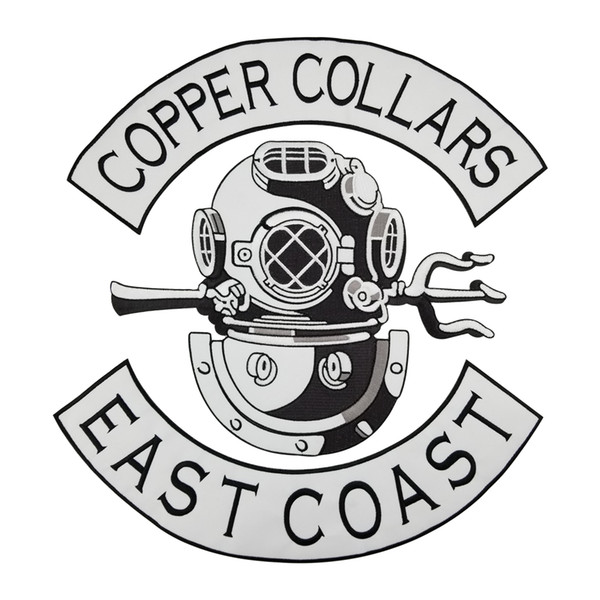 COPPER COLLARS EAST COAST Patch Punk MC Embroidered Full Back Large Applique For Rocker Biker Vest Patches for clothing Free Shipping
