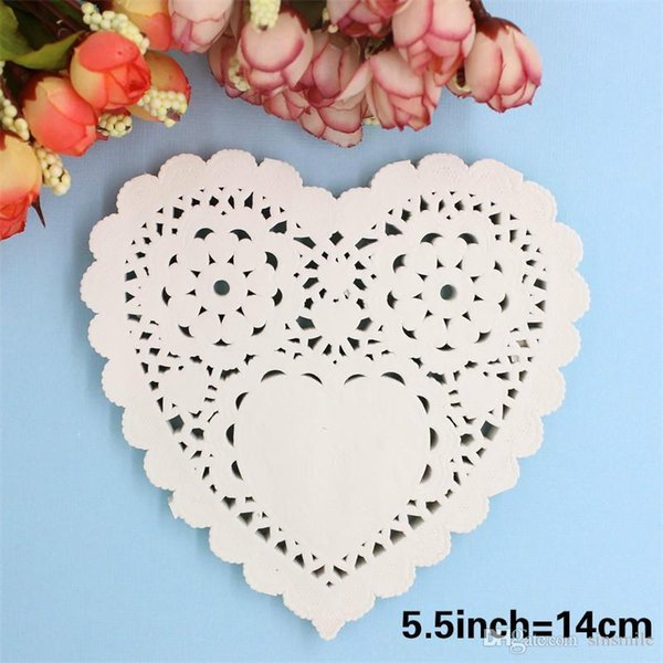 Wholesale- 5.5'' White Heart Paper Lace Doilies Placemat Craft Wedding Tableware Decoration/Scrapbooking Card Making 100Pcs/Lot