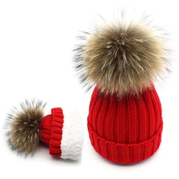 Adult/kids knitted wool hat with fur pompom beanies hat girls women Fleece Fluffy faux Raccoon Fur ski caps Skullies red white