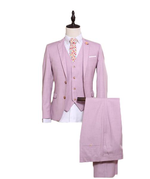 Best Men Suits Two Buttons Peaked Collar 3 Pieces Suits(Jacket+Pants+Vest) Slim Fit Suits Groom Party Tuxedos