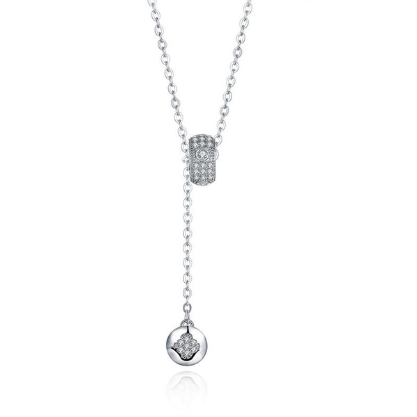 Sterling Silver 925 Necklace Lady Party Jewelry Pure Silver Beads Button Zircon Pendant Necklace Free Shipping n081