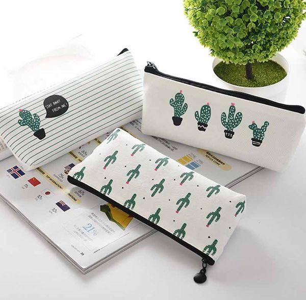 top popular Cactus Pencil Case Kawaii Canvas zipper Stationery Estuches School Cute Pencil Box Pen Bags Pouch Pocket Coin purse 2020