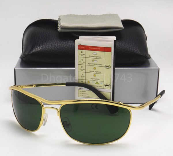 1PCS High Quality Classic Sunglasses Designer Brand Mens Womens Sun Glasses Eyewear 62mm Gold Metal Frame Green Glass G-15 UV Lenses