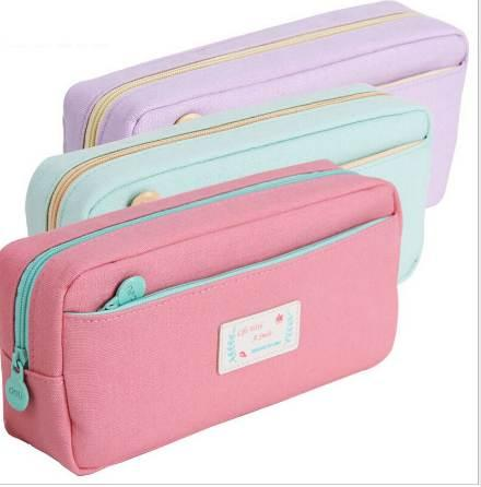 top popular High Quality Canvas Pencil Cases Stationery Store Big Size School Pencil Bag Stationery For Students Pencil Case Large Size 2021