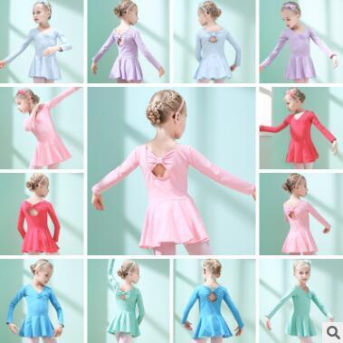 Meninas Ballet Vestido de Ginástica Leotard Manga Comprida Skirted Ballet Roupas Backless Bow Desgaste da Dança Botão Romper TUTU Saias Dancewear