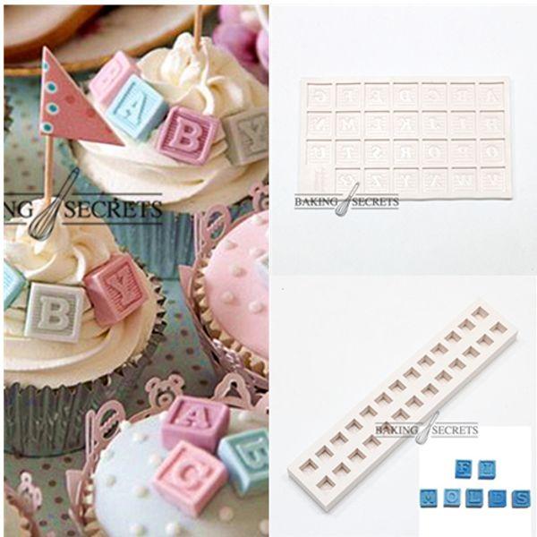 Wholesale- N145 N144 Alphabet Moulds Sugar silicone mould baby blocks letter mould gum paste mold