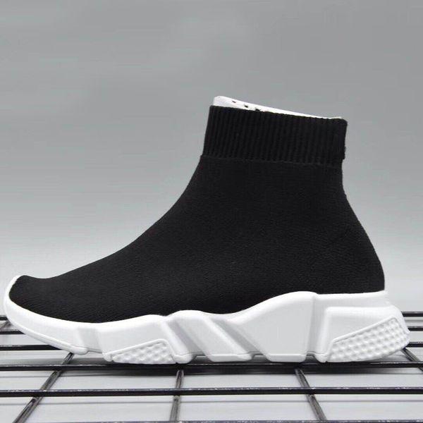 Envío Gratis Kids Luxury Paris Speed Trainer Niños y Niñas Moda Stretch Mesh High Top Sneaker Knit Calcetines Calzado talla 24-35