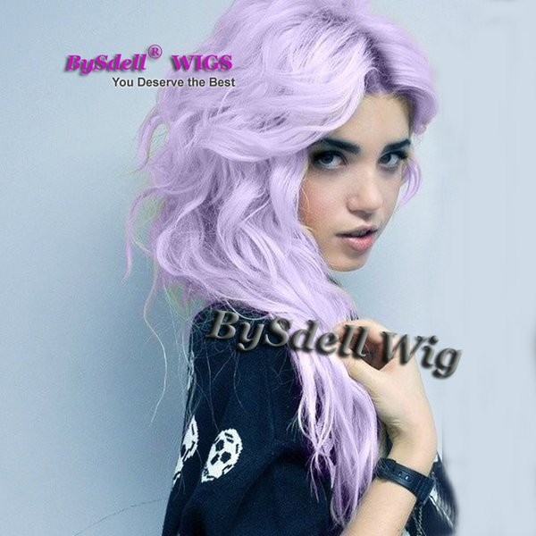 New Arrival fashion pastel hair wig synthetic pastel purple color long loose curly hair lace front wig beauty solid color wigs for whites