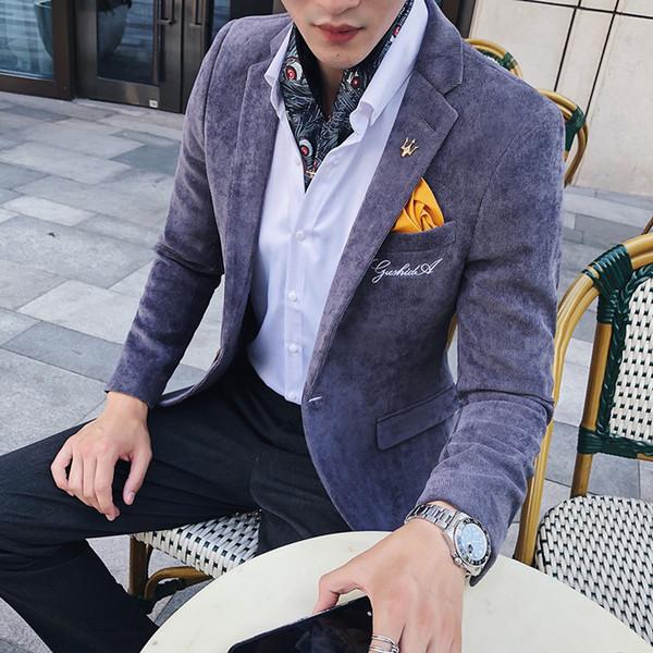 Corduroy Blazer Men Slim Fit Green Khaki Grey 2018 Male Blazer Suit Jacket Gold Embroidery Terno Masculino Korean Men