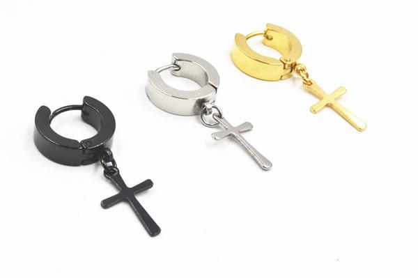50pcs Free Shippment Body Jewelry Stainless Steel Hoop Earring Ear Studs Piercing Jewelry Sliver/Black/Gold Cross Shape