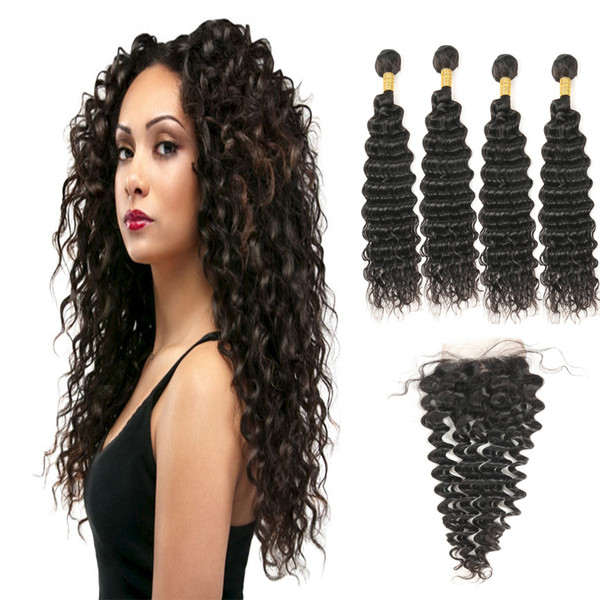 Malaysian Virgin Natural Black Human Hair Deep Wave 4 Bundles With Free Part Lace Closure Free Shipping On Sale