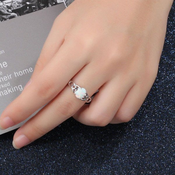 Elegant Oval White Opal Rings for Women Genuine 925 Sterling Silver Wedding Finger Ring Birthday Gifts For Moms (Lam Hub Fong)
