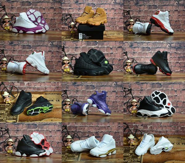 2018 With Box Kids Basketball Shoes 13S Sneakers for Children Black Cat Chicago Golden Wheat Love Respect Red Youth Size Euro 28-35