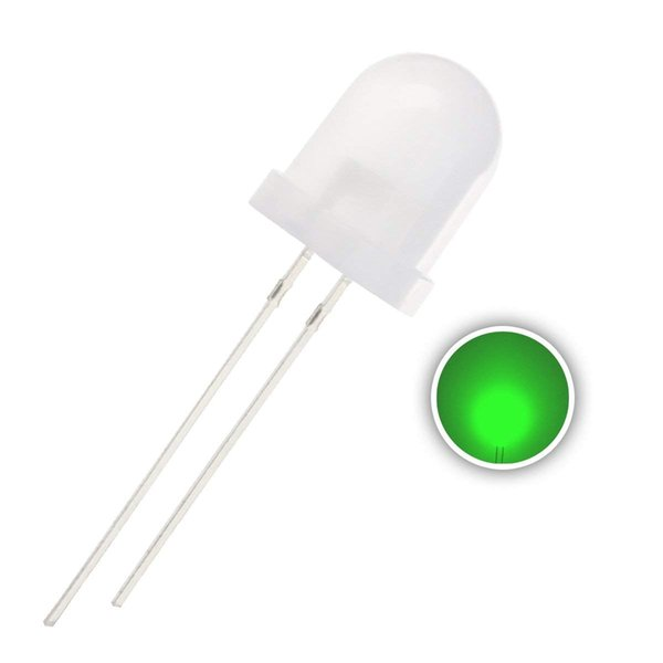 50 pcs 10mm Green LED Diode Lights (Diffused Round DC 3V 20mA) Lighting Bulb Lamps Electronics Components Light Emitting Diodes