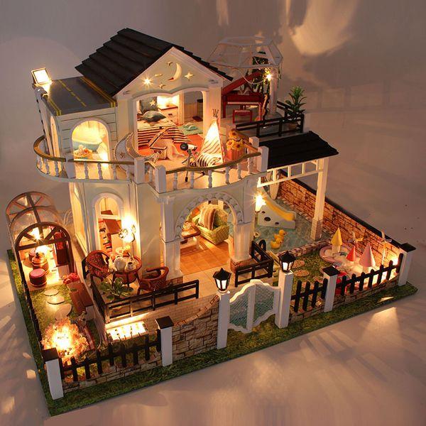 D030 DIY мини-вилла модель большой деревянный Кукольный дом миниатюрная мебель 3D деревянная головоломка модель здания
