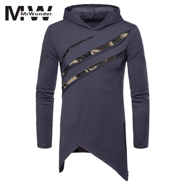 Großhandel Mrwonder Scratch Löcher Männer Hoodies Fashion Langarm Mit Kapuze Unregelmäßigen Saum Pullover Camouflage Dünne Tops Herren Sweatshirt SAN0