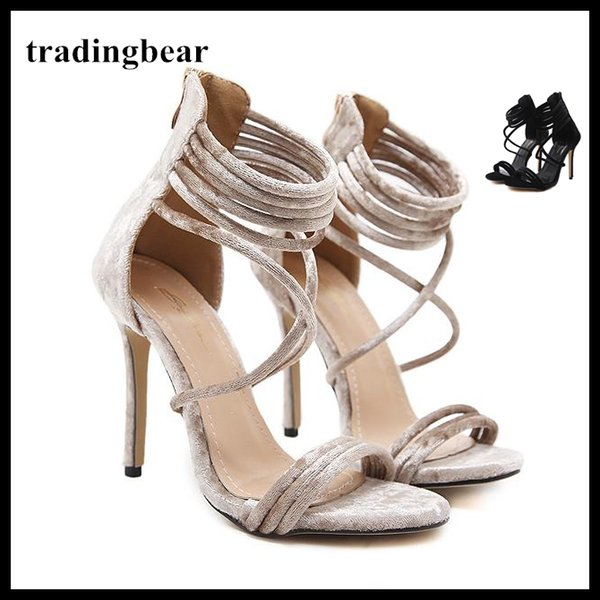 Rome Ankle Strappy Single Sole Open Toe High Heels Velvet size 35 to 40