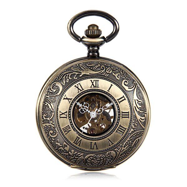 Bronze Tone Pattern Case Noir Cadran Double Roman Numberl Main Vent Mécanique Hommes Montre de Poche w / Chaîne Reloj de bolsillo