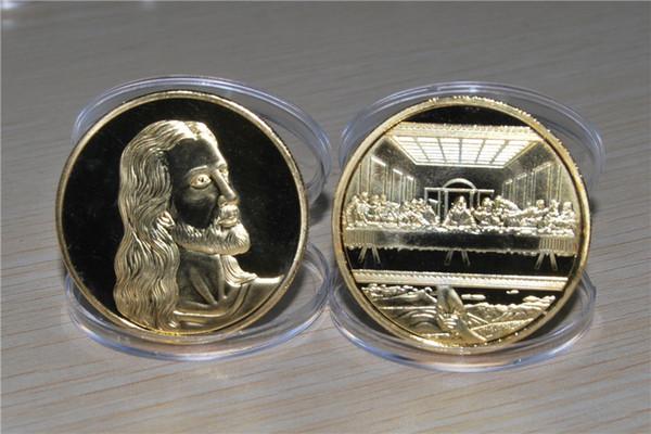 Jésus le dernier souper commémoratif Pièce commémorative Christianisme Collection de cadeau Pièce commémorative Argent Or Or