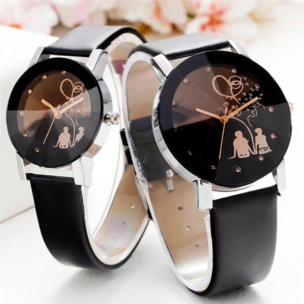 Relogio пара часы для любителей стильный шпиль стекло Алмаз часы Кожаный ремешок кварцевые часы мужские женские часы пара подарок