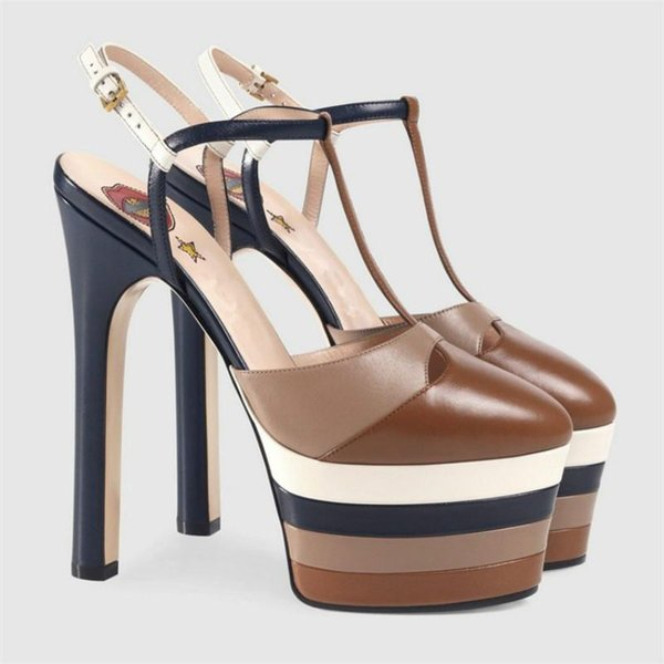 Women's high-heeled shoes 2018 new European station leather insider star with the same catwalk shoes factory outlets