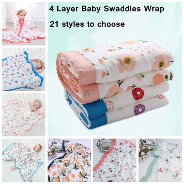 120cm 4 Layer Muslin Bamboo Cotton Air Conditioning Blanket Thick Baby Swaddles Wrap Soft Newborn Blankets Bath Gauze Infant Play Mat AAA819