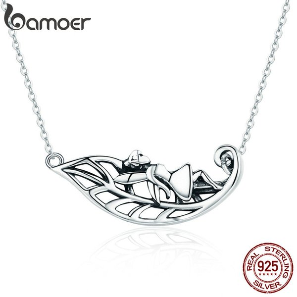 New Collection 925 Sterling Silver Fairy of the Forest Tree Leaves Pendant Necklaces Women Silver Jewelry Gift