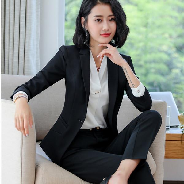 Chegam novas duas peças conjunto ternos de calça inverno moda formal de manga comprida magro blazers com calças escritório plus size desgaste do trabalho