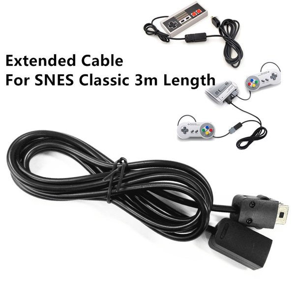 Free shipping 3m 9.84ft Length Extension Extended Cable Wire for SNES Classic Black color available in Stock