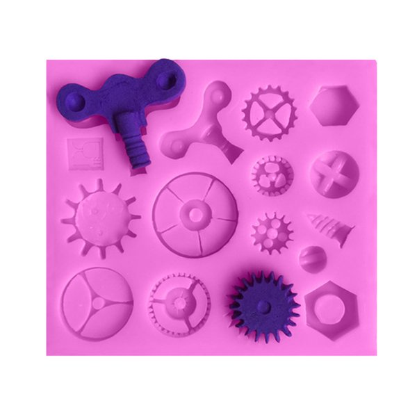 Steampunk Theme Gear screw Fondant Cake Silicone Mold Industrial Machinery Chocolate Mold Cake Decorating Tools