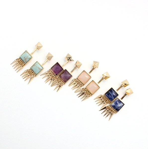 14K Gold Plated Square Natural Stone Rivet Cone Inlaid Earrings Drop Dangle Detachable Jewelry