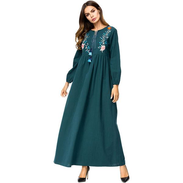 187273 Middle East Tall Muslim Dress for Women Euramerica Embroidered Folk Nation Dresses Dubai Fashion Abaya Gowns Women Robes Ramdadan