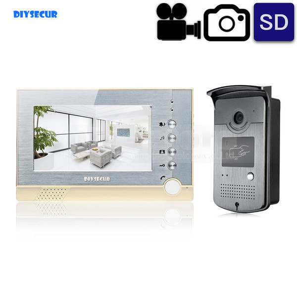 DIYSECUR Video Record / Photograph 7 inch Wired Video Door Phone Intercom Home Security System RFID Camera LED Night Vision