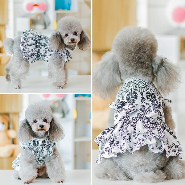 New Dog Dress Printing Bow Gauze Skirt Princess Skirt Spring And Summer Dog Apparel Bichon Poodle Schnauzer Skirt Puppy Dress