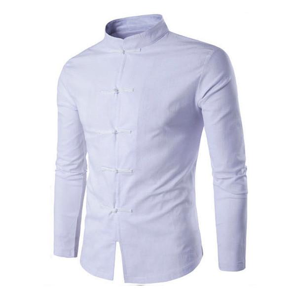 Tang Suit 2018 Fashion Casual Solid Mandarin Collar Long Sleeve Linen Shirt Men Slim Fit Social Dress Shirt White Black