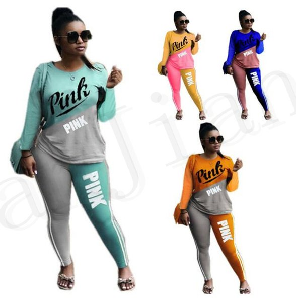 Pink Letter Print Splice Color tracksuit Long Sleeve t-shirts pants Round Neck patchwork Two Piece Sets love pink Jogger Outfit sportswear