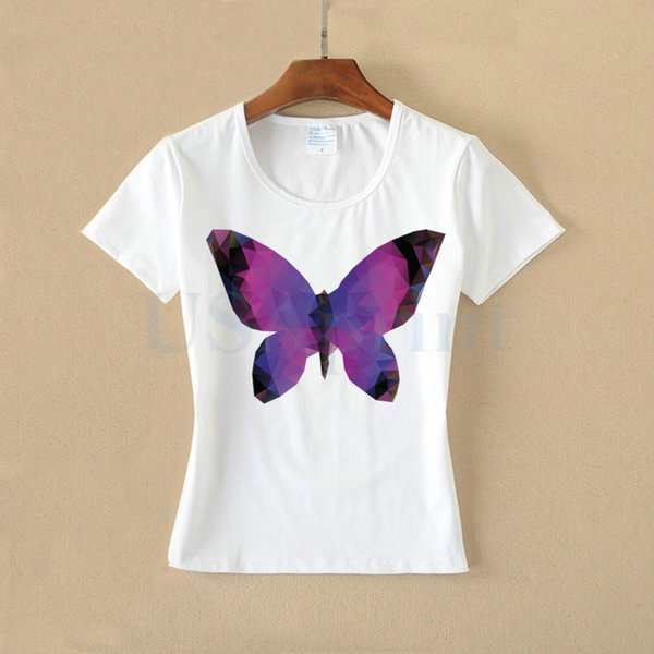 USAprint Women Vintage Shirts Butterfly Design Ladies Tops Cotton White Tee Harajuku Kawaii Summer Clothing Female Short Sleeve