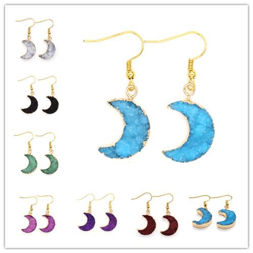 Wholesale 10 Pairs Luxury Gold Plated Rock Crystal Dyed Purple Crescent Moon Green Earrings For Christmas Gift Jewelry