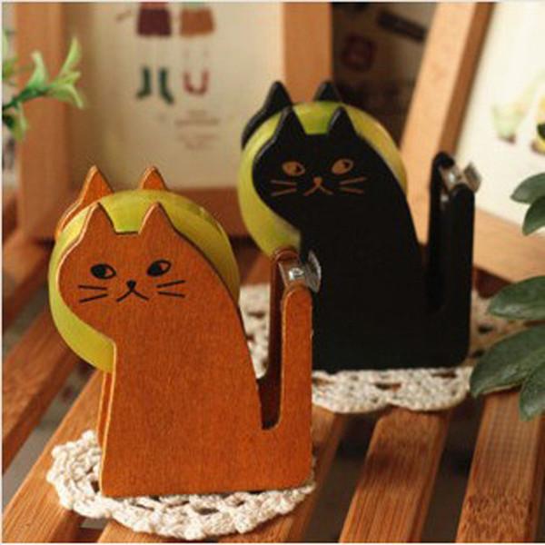 Vintage Wooden Cute Tape Dispenser Cutter Kawaii Cat Office Accessory Mini Washi Cutting Holder Packing Machine Split Sealer Kit