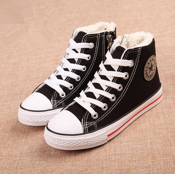 Winter Children Canvas Shoes Kids Sneakers Fashion Cotton-padded Boys Girls Denim Flats Side Zipper Plush Velvet Boots