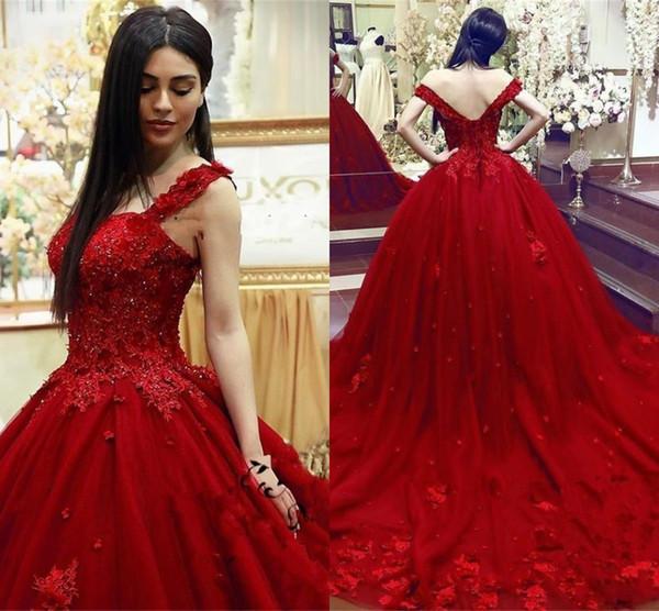 2018 Moda Doce 16 Vestido Quinceanera vestido De Baile Rendas 3D Floral Apliques de Contas Masquerade Inchado Longo Baile de Formatura Vestidos Formais Vestidos