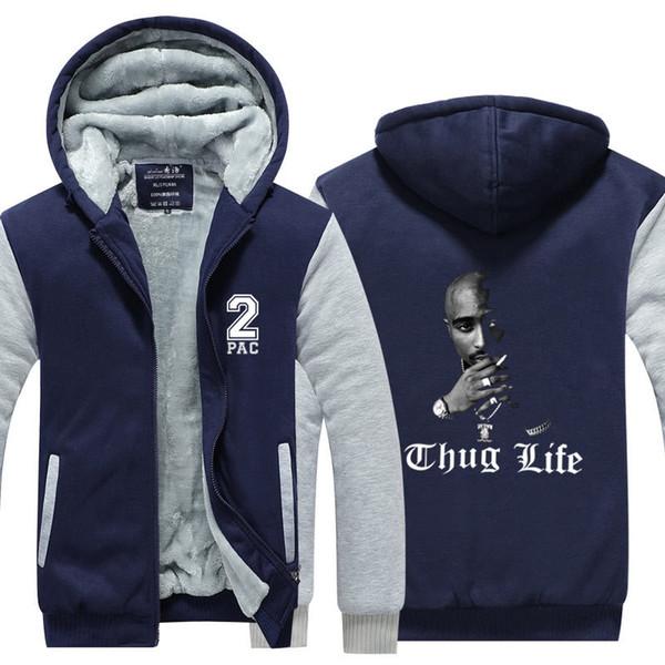 design innovativo 3d309 f50d5 Acquista Tupac Amaru Shakur 2Pac Uomo Zipper Felpa Con Cappuccio Felpa In  Pile Addensare Giacca Cappottino Vita Hip Pop Streetwear USA Taglia EU Plus  ...