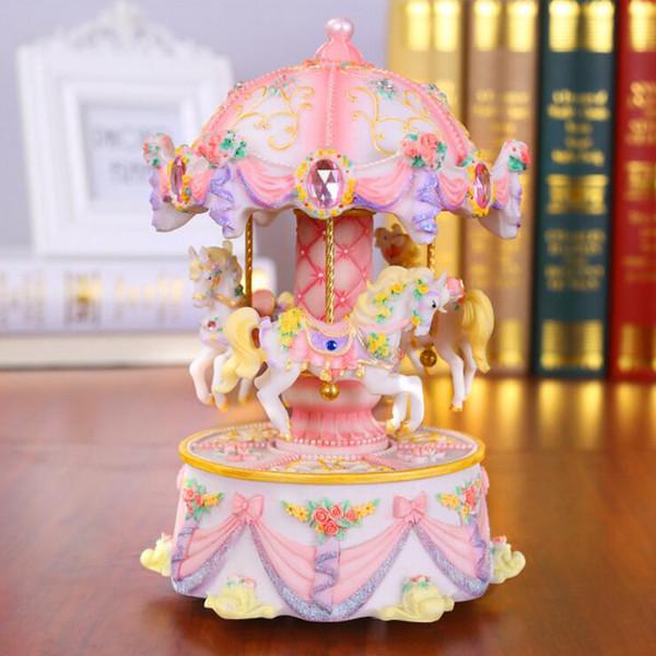Carillon resina Carosello Flashing LED Light Bambini ragazze San Valentino Compleanno regalo di Natale giocattolo Matrimonio Home Decor Mestieri