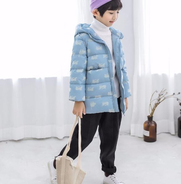 top popular 2018 winter new children's clothing down jacket boys and girls with white duck down edging cartoon pattern coat 2021