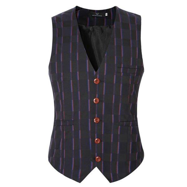 Wholesale- New Gilet Men Formal Designer Brand Plaid Suit Vest Men Cotton V-Neck Casual Tops Waistcoats For Men Clothing Gray Plus Size 6XL