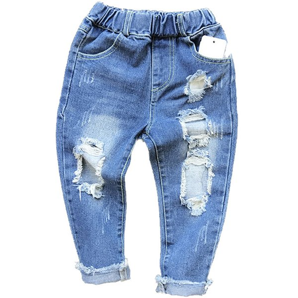 New 2018 Boys Girls Hole Jeans Pants 1-6yrs Kids Trousers Spring Fashion Designer Brand Children Denim Pants Casual Ripped Jeans