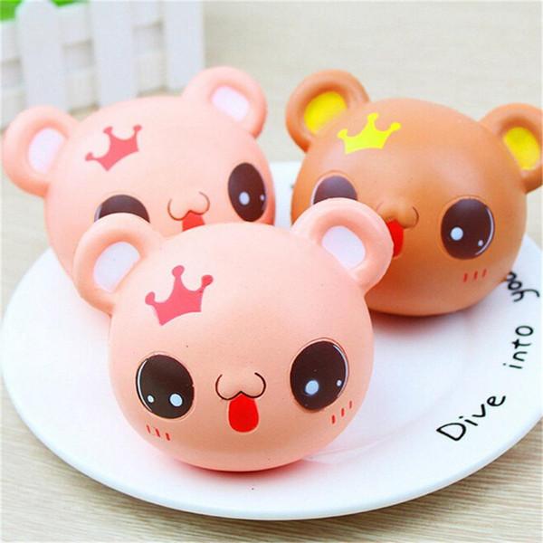 Smile crown Bear Head Squishy Slow Rising cute cartoon animal Kawaii Jumbo Stress Relief Toy Gift Kids Girls 2colors